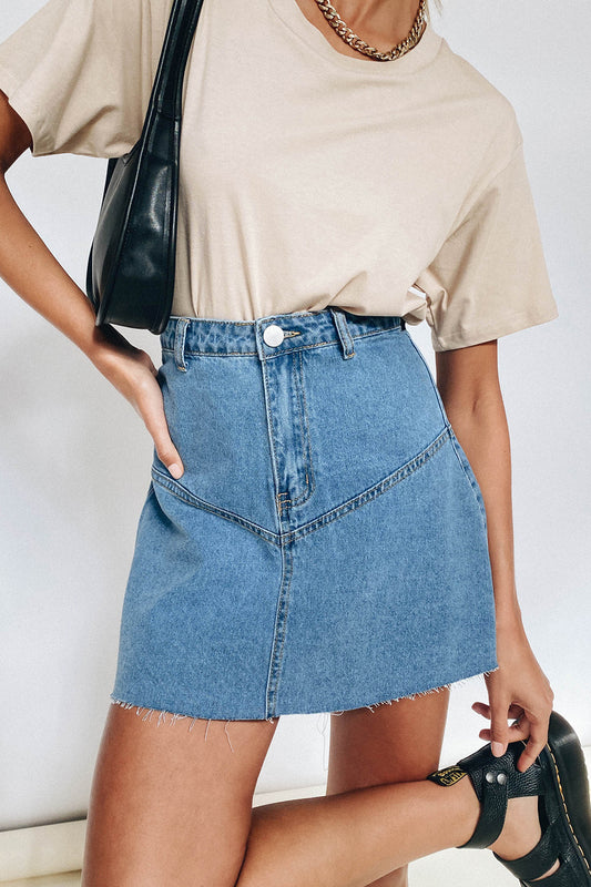 VRG GRL Sun Seeker Denim Mini Skirt // Blue