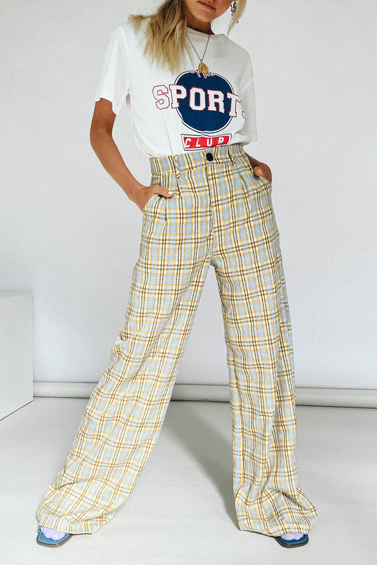 VRG GRL Fashion House Check Pants // Yellow
