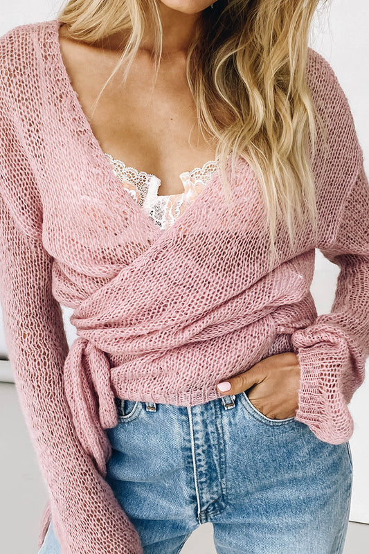 VRG GRL Parisian Amour Knit Wrap Top // Rose