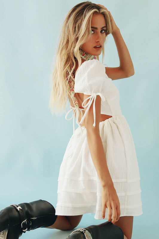 First Move Tie Back Mini Dress // White