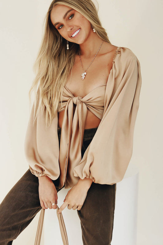 Valencia Tie Front Top // Natural