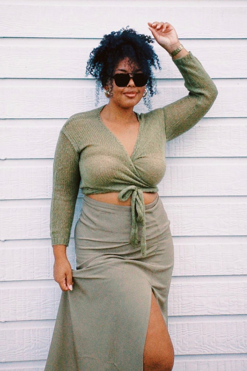 70's Summer Ribbed Knit Halter Top // Khaki