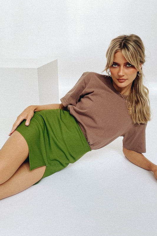 VRG GRL French Guide Mini Skirt // Olive
