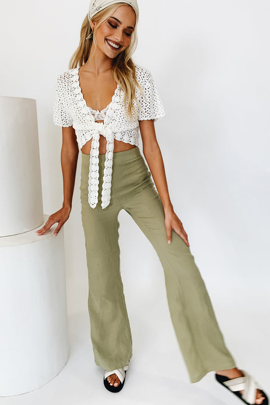 VRG GRL On Holidays Wide Leg Pants // Sage