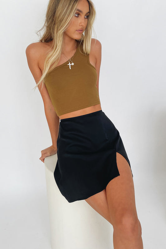 VRG GRL Parisian Night One-Shoulder Top // Olive