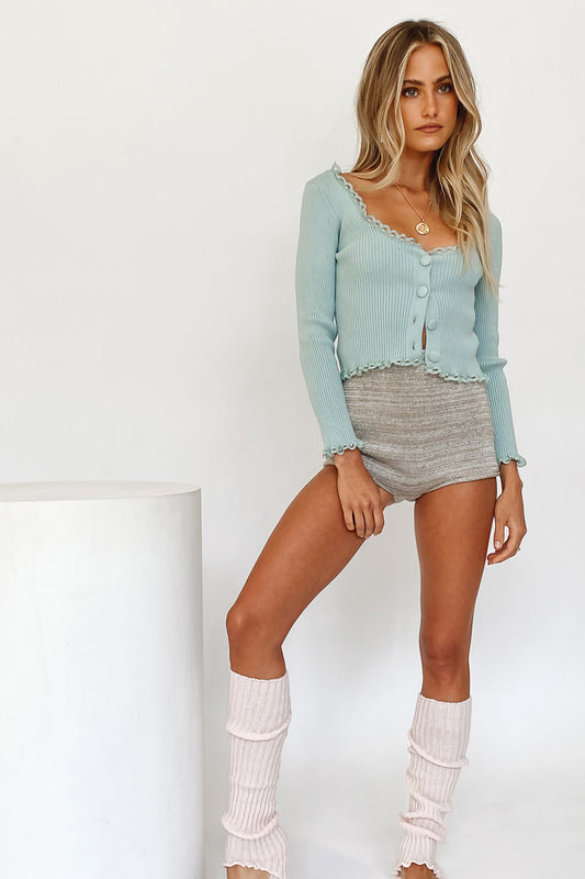 Short Film Button Front Knit Top // Mint