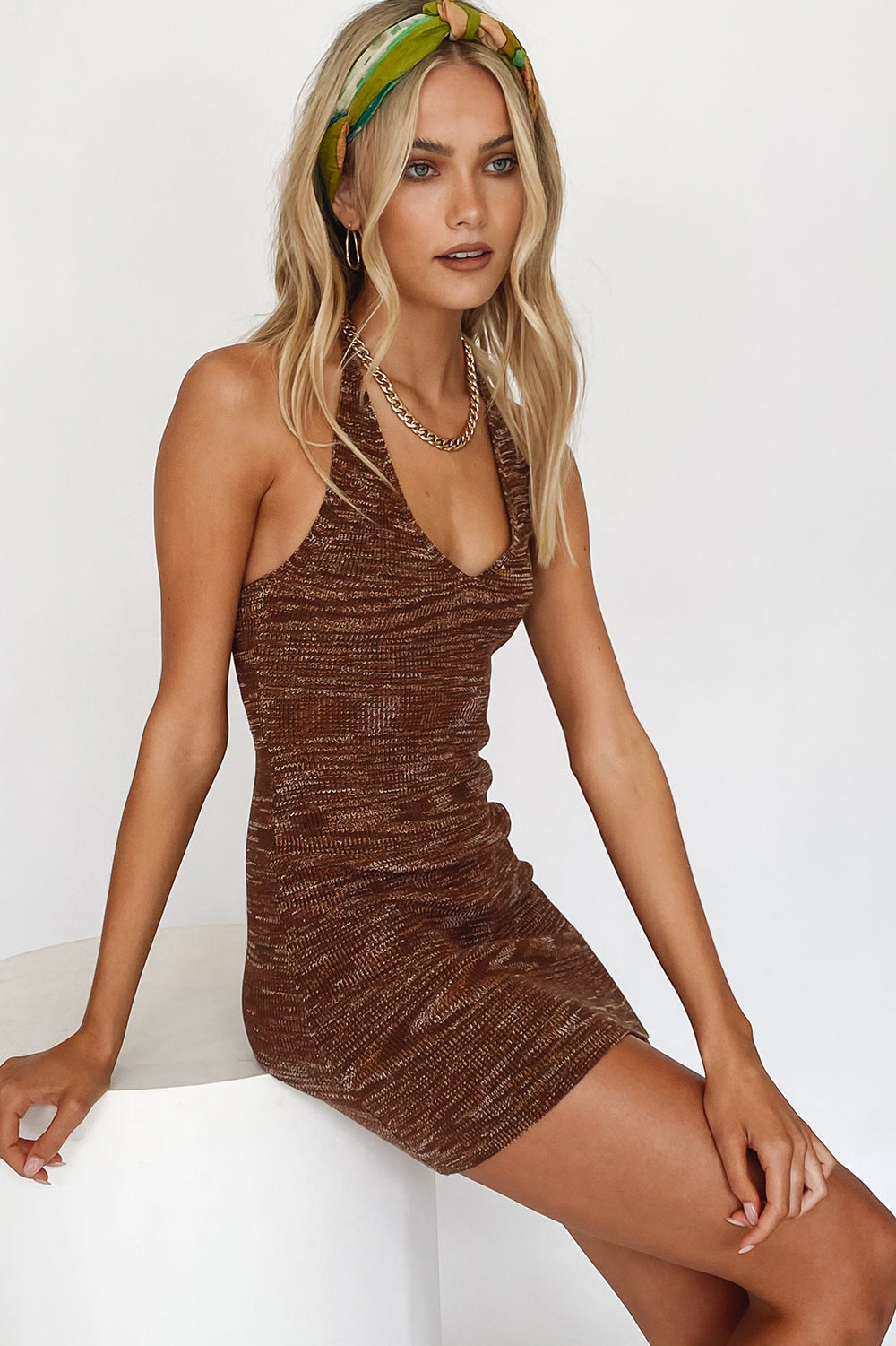 Beach House Halter Knit Mini Dress // Chocolate