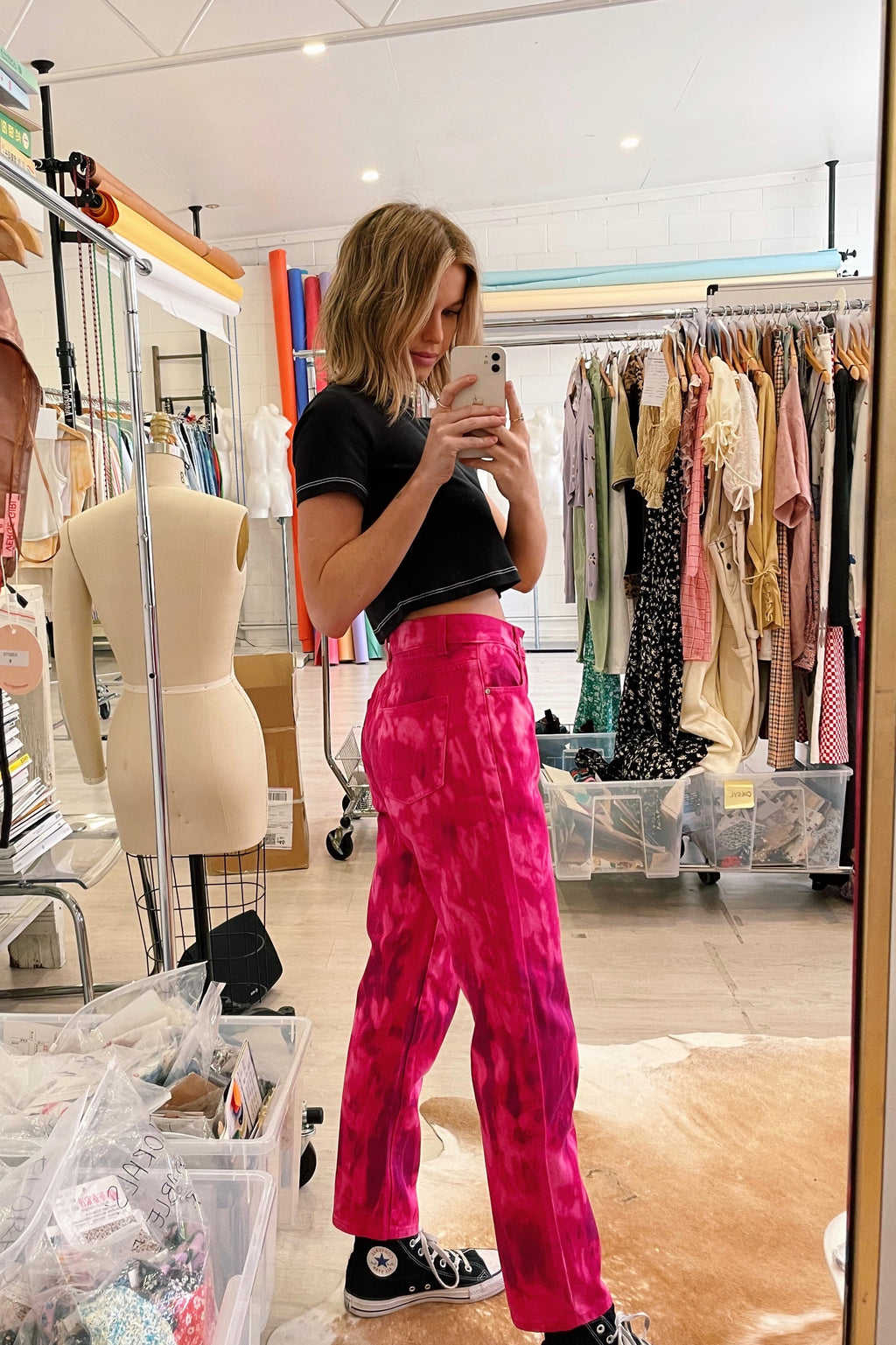 VRG GRL 1995 Tour Tie Dye Jeans // Hot Pink