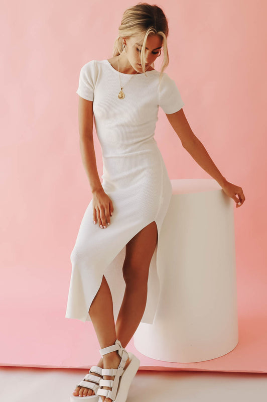Under Control Ribbed Knit Midi Dress // White