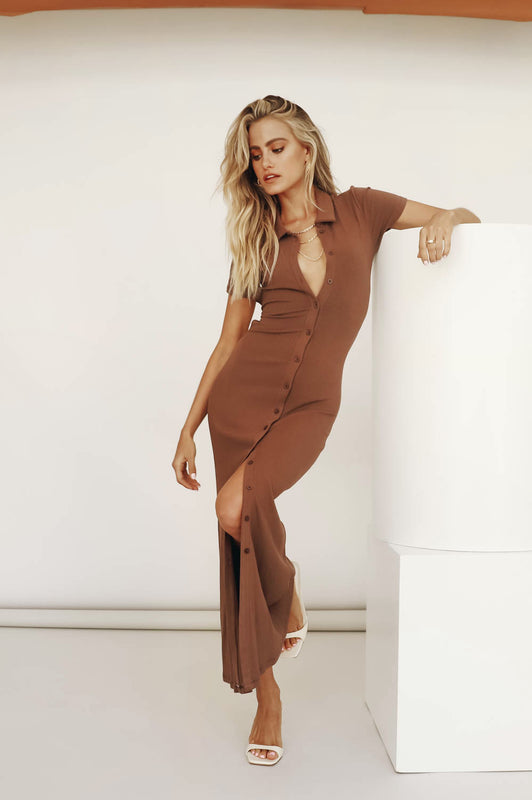 Sipping Cocktails Tie Back Midi Dress // Chocolate