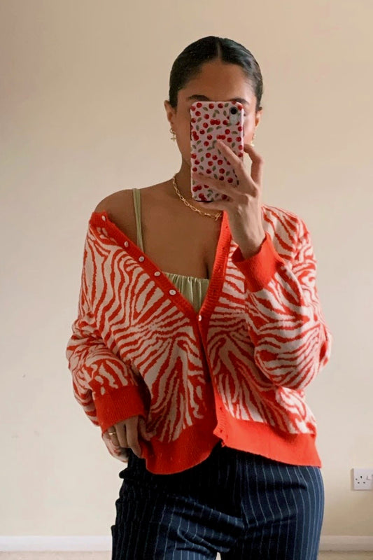 London Town Button Front Knit Cardigan // Orange