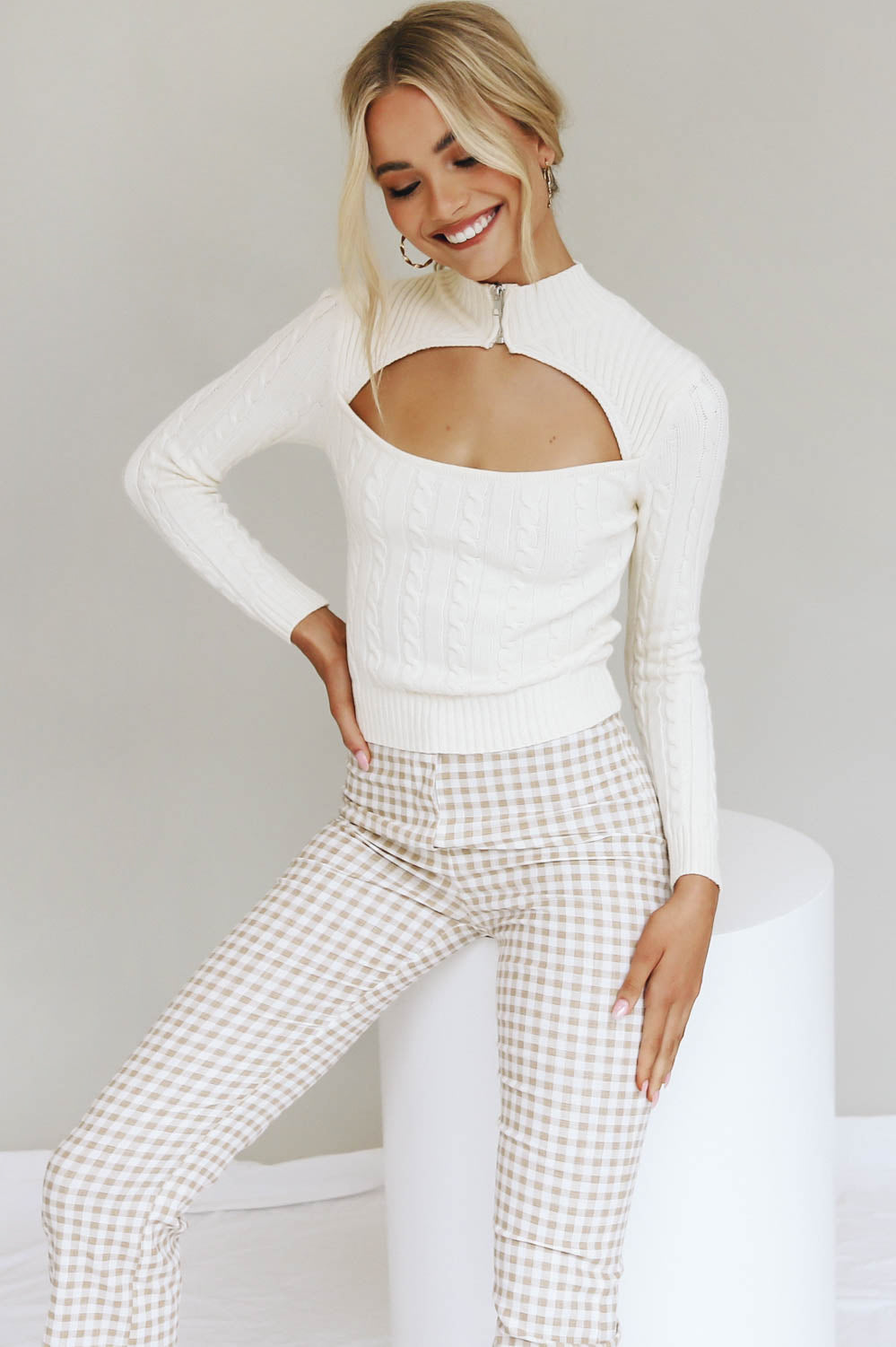 Slow Down Ribbed Knit Top // Cream