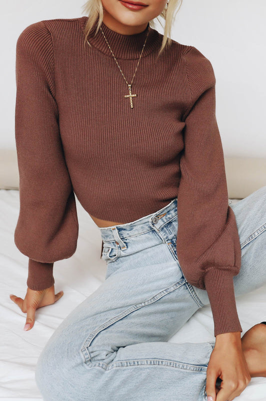 Beauty Icon Ribbed Knit Top // Chocolate
