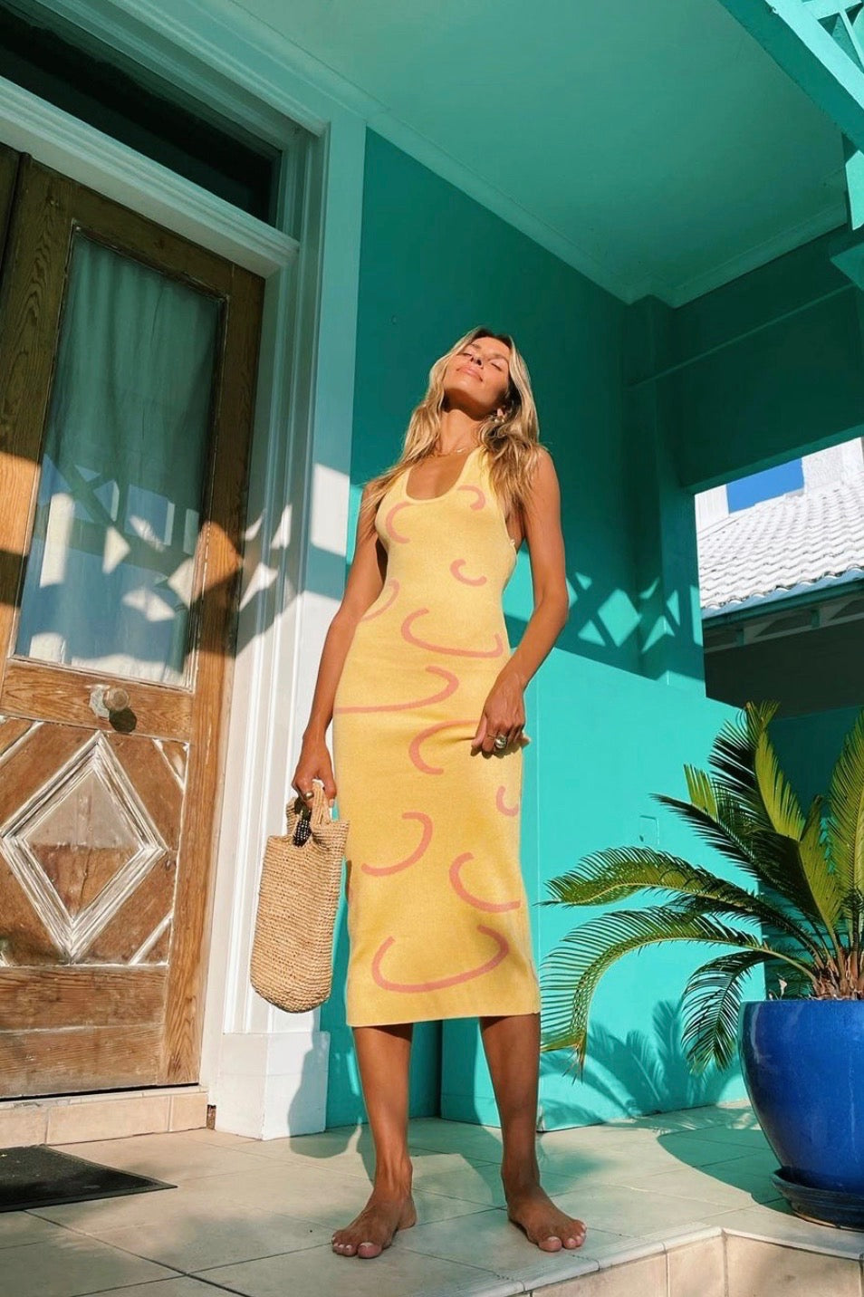 VRG GRL Summer Weekend Knit Midi Dress // Yellow