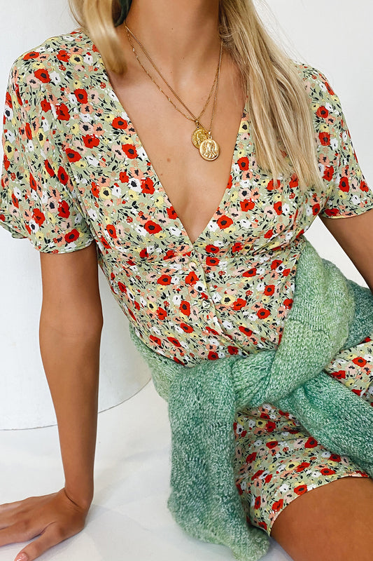 VRG GRL Edge Of Romance Floral Mini Dress // Sage