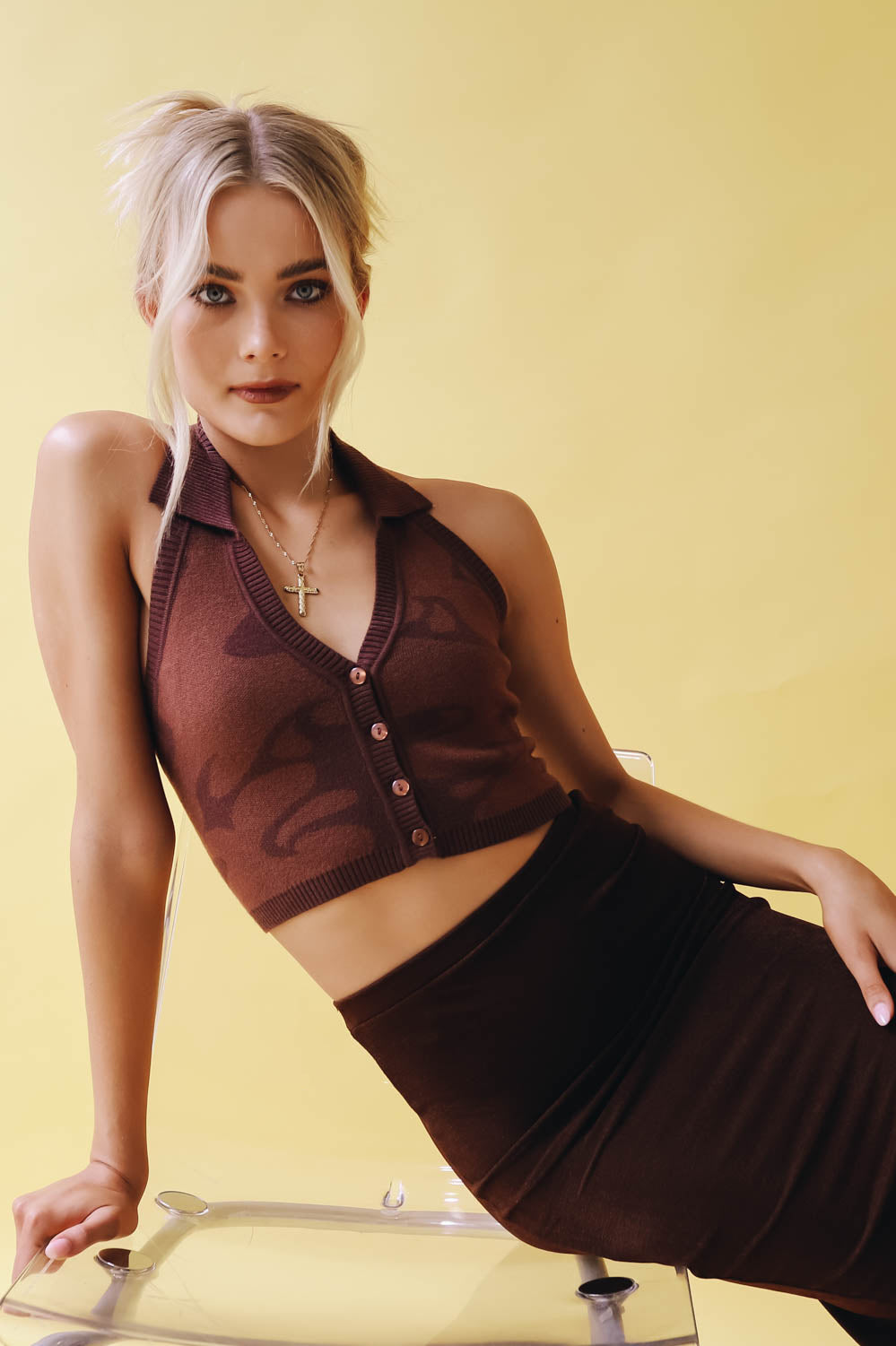 VRG GRL Brixton Baby Knit Halter Top // Chocolate