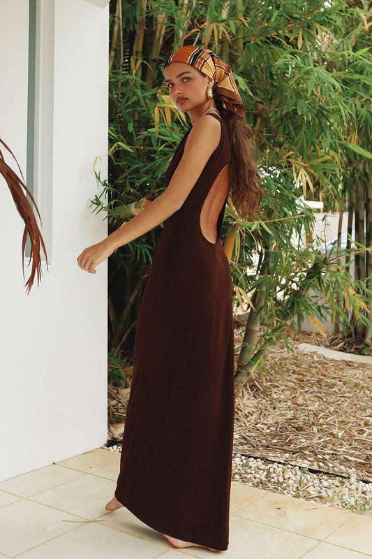 VRG GRL A Night In Paris Open Back Midi Dress // Chocolate