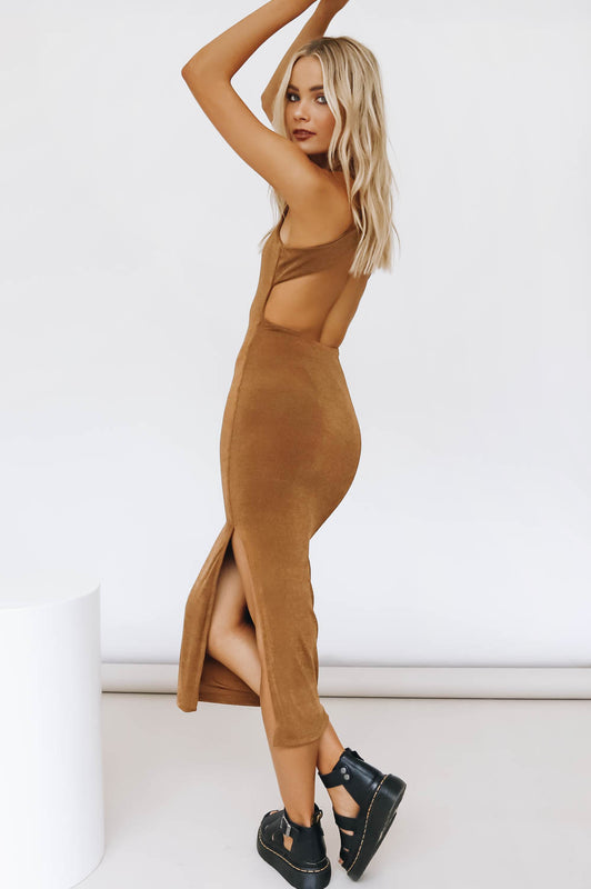 Work Of Art Midi Dress // Tan