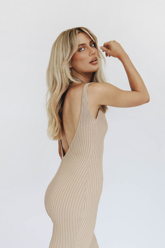 Mix It Up Ribbed Knit Midi Dress // Natural