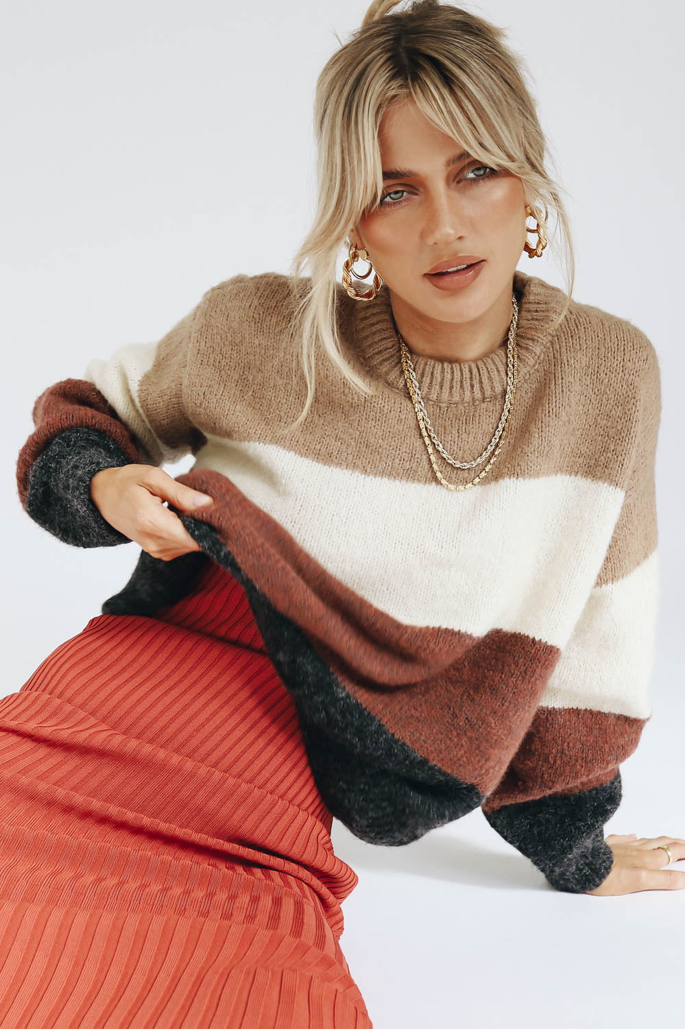Let's Go Stripe Knit // Brown