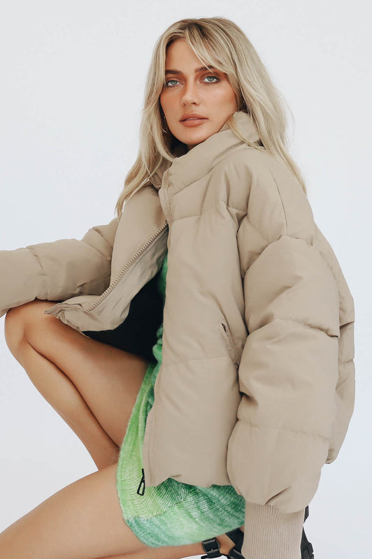 The Voyager Puffer Jacket // Taupe