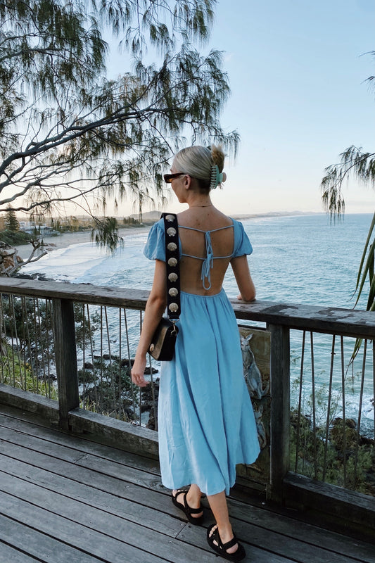 Lovefool Tie Back Midi Dress // Sky