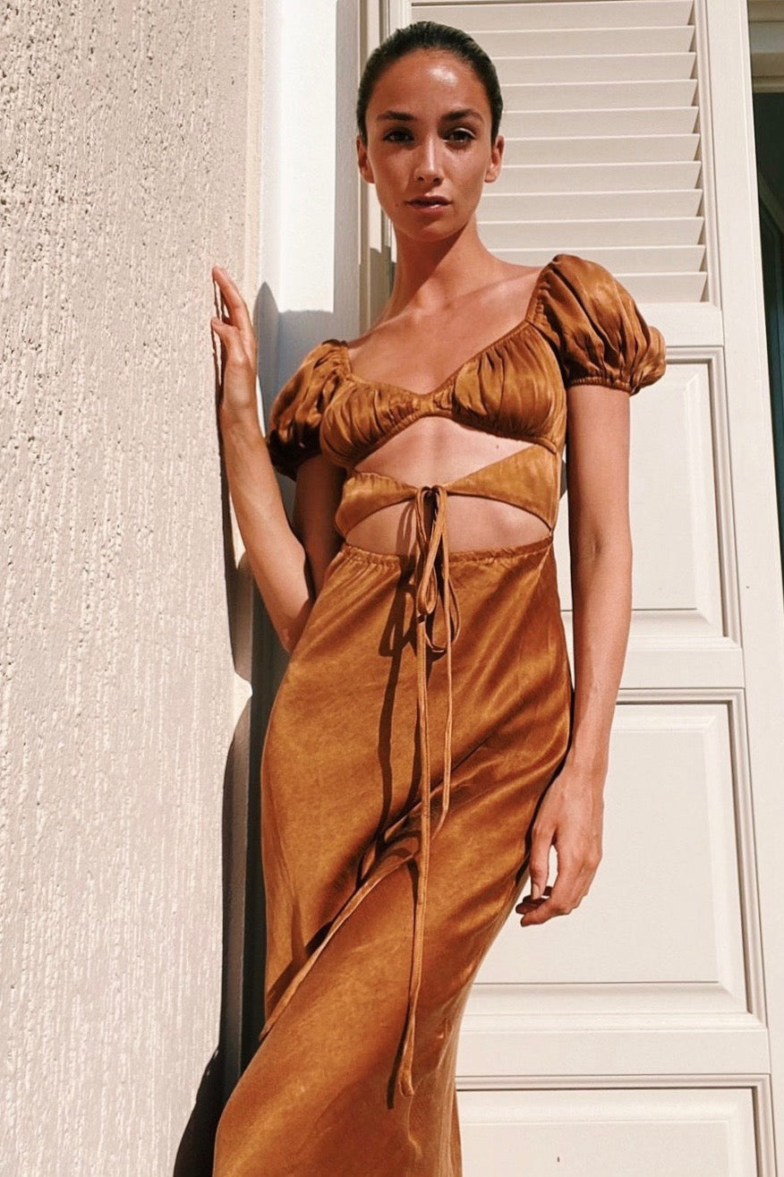 VRG GRL Au Revoir Tie Maxi Dress // Tan