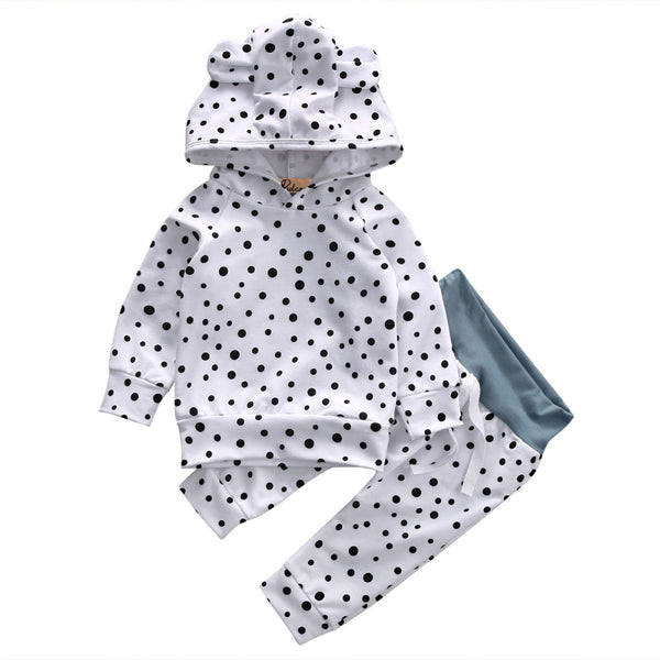 Baby Girls Polka Dot Hoodie and Pants Outfit Set