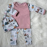 Baby Boy & Girl Pink or Blue Long Sleeve and Pants with Hat Outfit Set