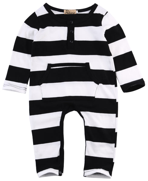 Baby Boys Black and White Striped Long Sleeve Romper