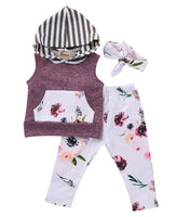Baby Girl Floral Purple Sleeveless Hoodies and Pants with Headband Outfit Set