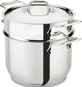 All Clad Stainless Steel Pasta Pot With Strainer Lid 6 Quart