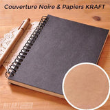 Carnet De Croquis 100 Pages Kraft Couverture Rigide Noire Divers Kraft Papier Kraft
