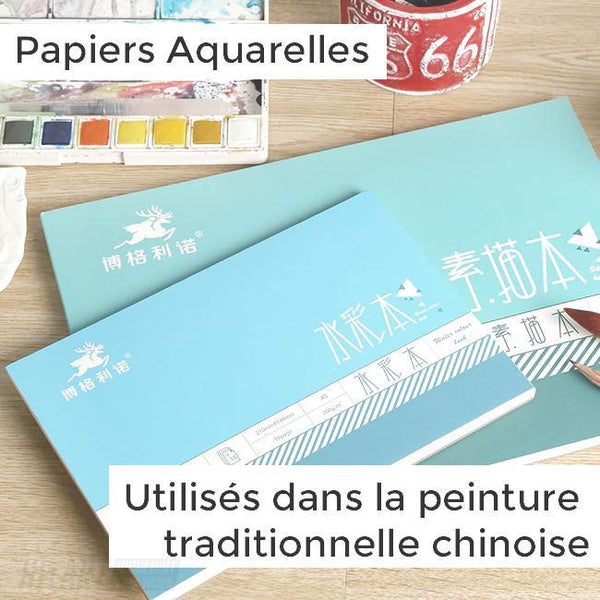 Bloc Papier Aquarelle Traditionnel Chinois : Grain Fin 200gm/m²
