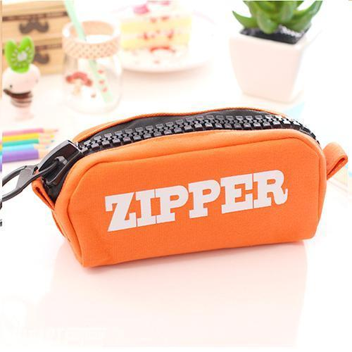 Trousse Design Zipper Solide Quatre Couleurs Orange Divers Fourniture