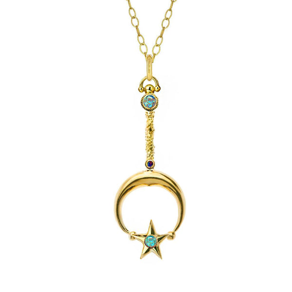 Katrina Kelly Fine Jewelry Designs a Glowing Classic Gold Moon and Star Wand with Opals and Diamonds