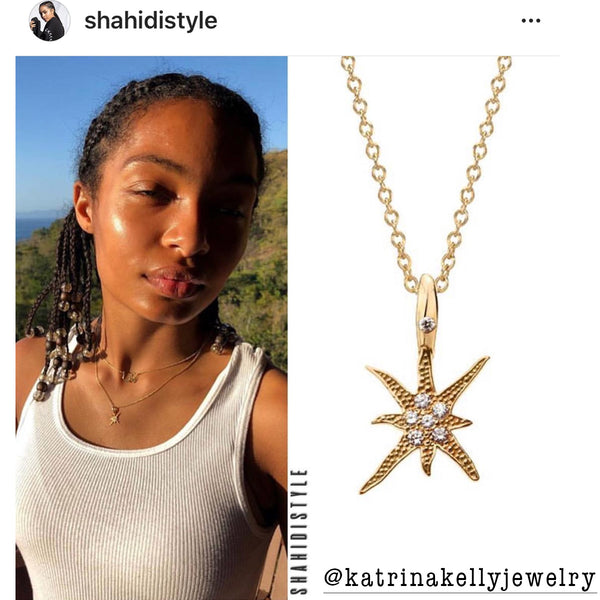 Yara Shahidi is Wearing Jewelry Designer Katrina Kelly's Sea Star Gold Necklace