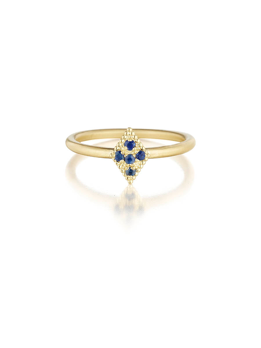 Katrina Kelly Fine Jewelry Blue Sapphire and Gold Stack Rings