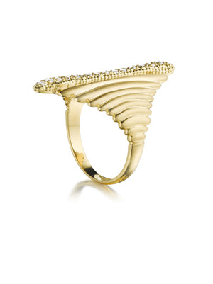 Gold Deco Wave Ring with Diamonds