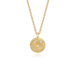 Classic Gold Circle Charm with Diamonds