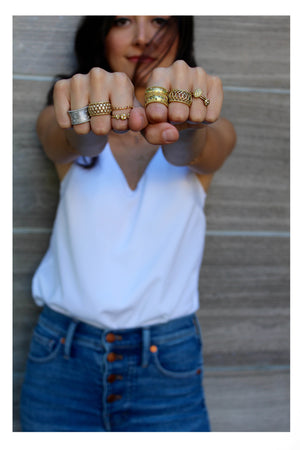 Triple Gold Nugget Stack Ring