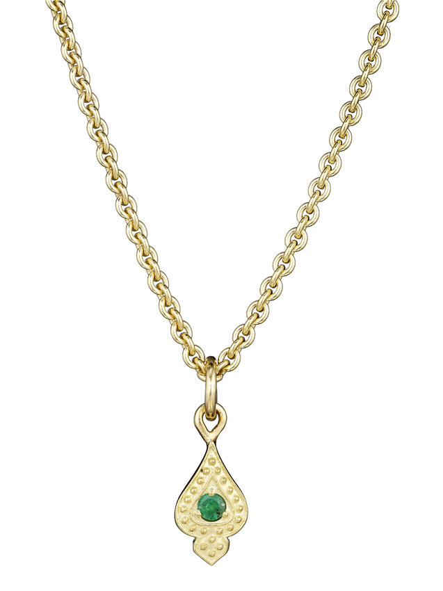 Gold Emerald Charm Necklace