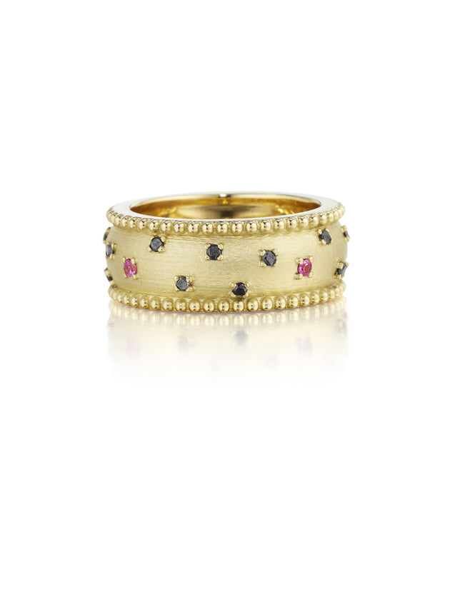 Vaulted Gold Ring with Black Diamonds and Pink Sapphires
