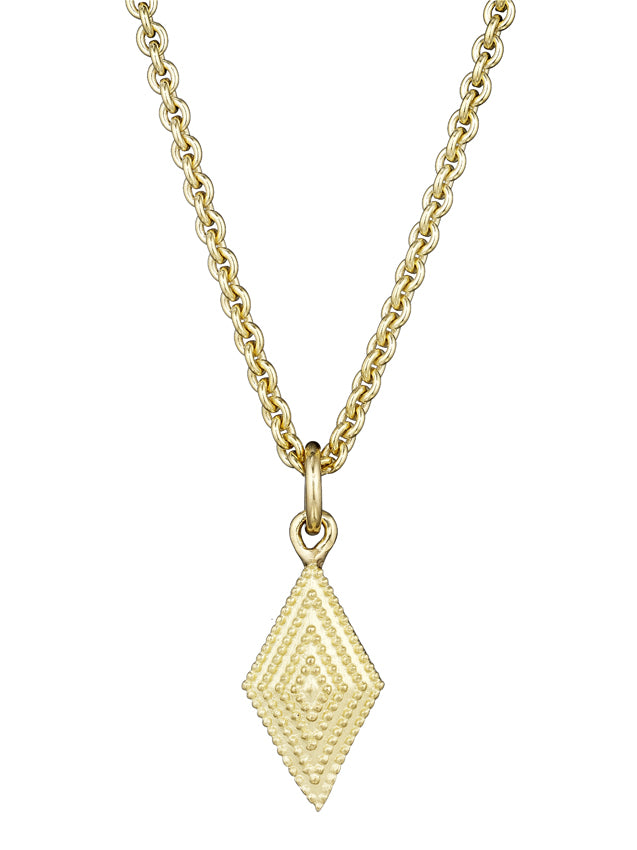 Gold Textured Diamond Shaped Pendant