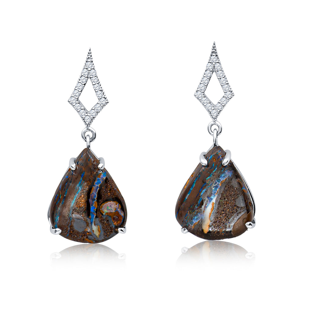 Australian Koroit Boulder Opal Pear Drop Earrings