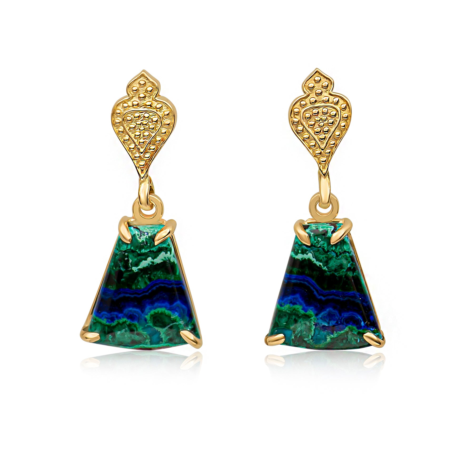 Gold Temple Azurite-Malachite Trapezoid Cabochon Drop Earrings