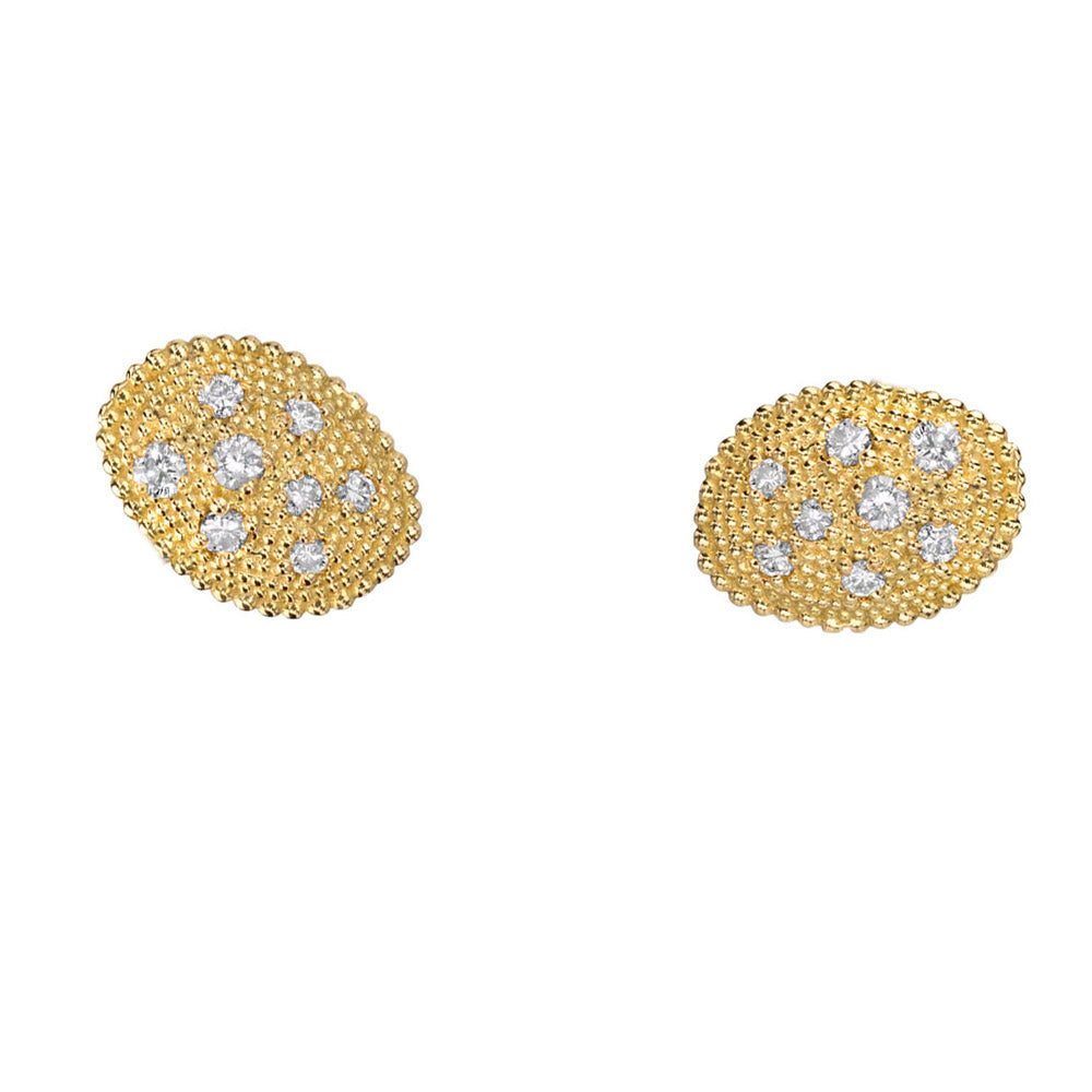 Gold Oval Stud Earrings