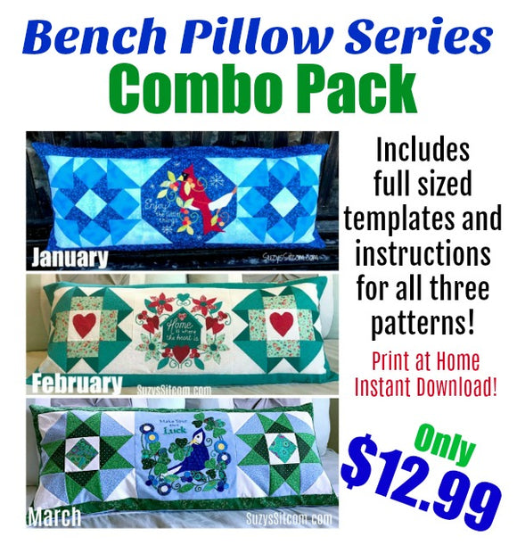 Bench Pillow Series- Combo Pack- Jan, Feb, Mar