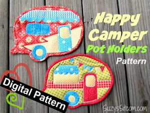 Happy Camper Pot Holders Digital Pattern