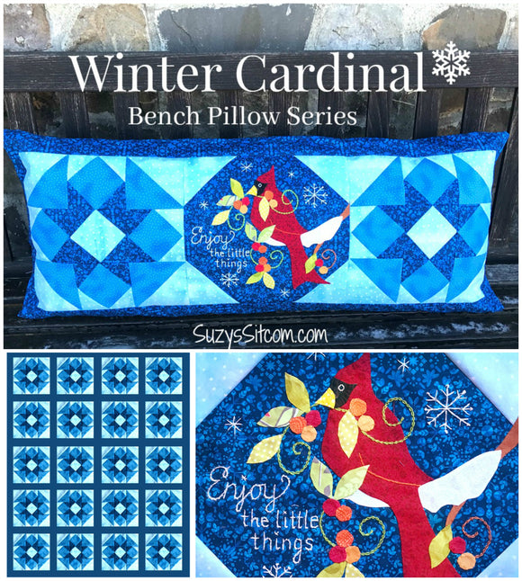 Bench Pillow Series- Winter Cardinal (January)